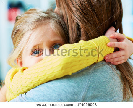 stock-photo--scared-girl-daughter-embrace-mother-home-portrait-174096008