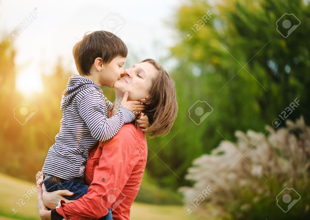 16064884-Son-is-kissing-his-mother-Stock-Photo-child