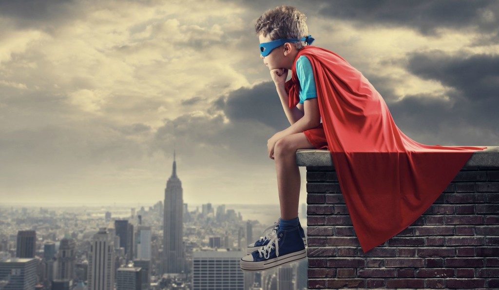 A young boy dreams of becoming a superhero.