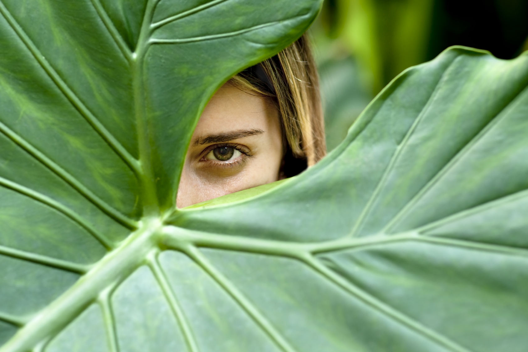 Girl hiding behind a big leaf.