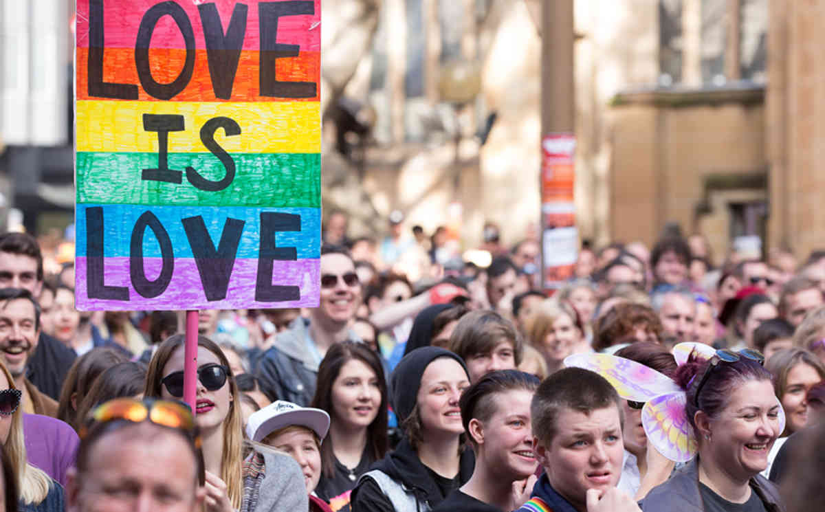 Same-Sex marriage activists march in the street during a Same-Sex Marriage rally in Sydney, Sunday, Aug. 9, 2015. (AAP Image/Carol Cho) NO ARCHIVING
